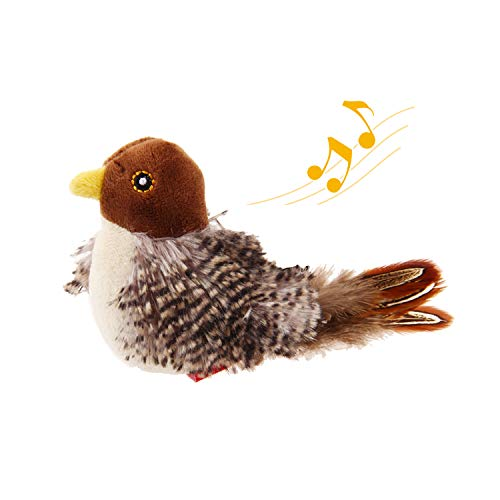 Gigwi Chirping Bird Cat Toy, Interactive Cat Squeak Toy Melody Chaser Bird Toys for Cats to Play Alone, Play N Squeak Kitten Toy for Boredom