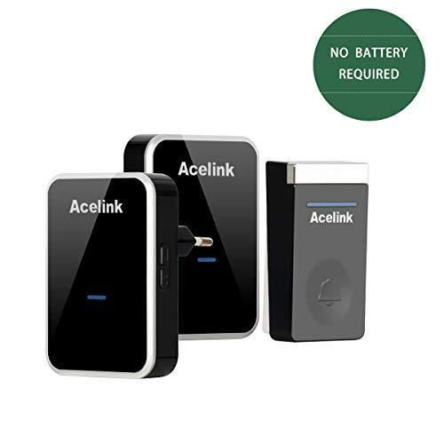 Funkklingel, Acelink Batterielose Funk Türklingel 200m Reichweite Hausklingel mit 2 Empfänger, IP44 Außenbereich Wasserdicht Funkklingel Schwarz