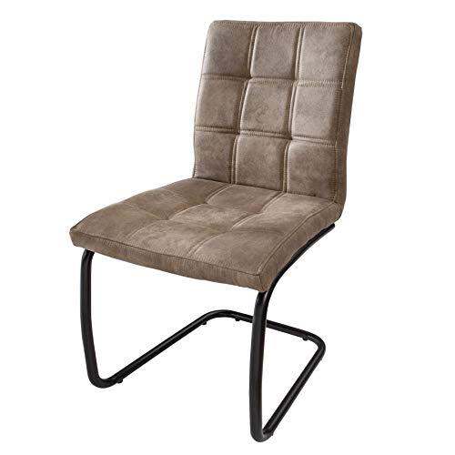Invicta Interior Industrial Freischwinger Stuhl Modena Vintage Taupe mit Ziersteppung Esszimmerstuhl Schwingstuhl Küchenstuhl Besucherstuhl