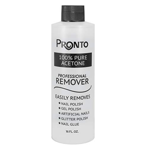 Pronto 100% Pure Acetone - Quick, Professional Nail Polish Remover - For Natural, Gel, Acrylic, Sculptured Nails (16 FL. OZ.)