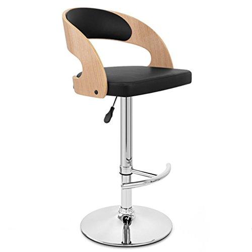 Barstolar Bar Stool Vintage Bar Stol med PU Seat Justerbar Swivel gasfjäder, justerbar höjd 58-80cm för bardisk och köksö Swivel Barstolar Max.Belastning 200 kg (Färg: Vit) (Color : Black)