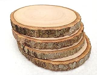 Hampton Art Bark Coaster Wood Slices 3.5 in. to 4 in. Live Edge Rustic Wedding and Craft Pack of 4