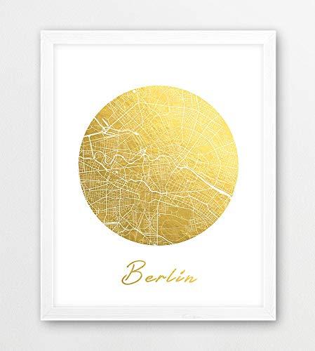 Berlijn City Map Print Berlijn Duitsland Urban Street Kaart Poster Berlijn Kaart Gouden folie Textuur Reizen Moderne Muur Art Home Decor Printbaar