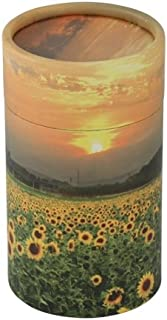 Sunflowers Scattering Tube, Extra Small Urn for Baby or Child, Yellow Flowers, 5.25 inches High, Biodegradable Eco Urn