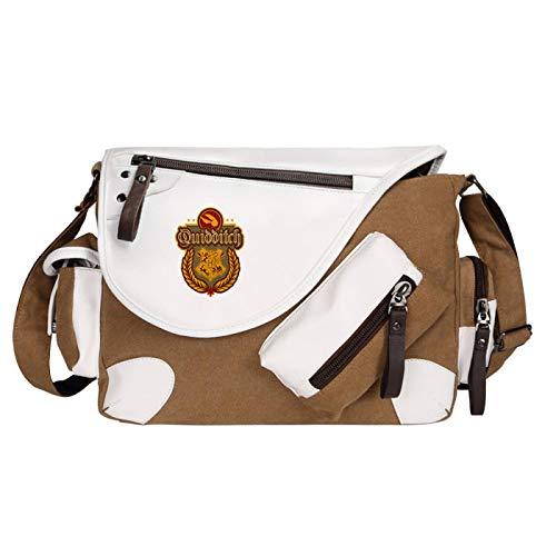 Harry Potter Messenger Bag Quidditch Book Bag Cartoon Pattern School Bag Suitable For Children Aged 7~16 35x26x11cm Brown-B