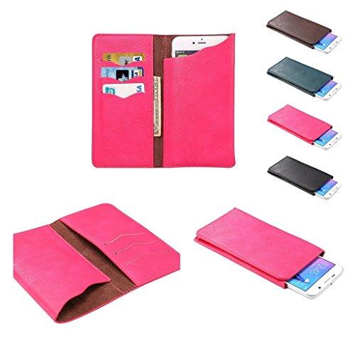 DFVmobile - Etui Vertikaltasche Tasche Schutzhülle aus Kunstleder mit Kartenfächer für LEECO X850 LE MAX 3 - Rosa
