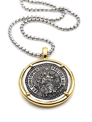 LESLIE BOULES Vintage Saint Christopher Medal Necklace for Men 22 Inches Length Protection Jewelry