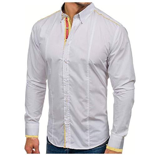 Camisa social masculina de manga comprida e costura personalizada com botões de cor pura da VITryst, Branco, US X Small