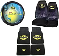 7-Piece Dark Knight Batman Automotive Interior Gift Set - 4 Universal Fit Plush Carpet Floor Mats for Cars / Trucks, 2 Universal-fit Front Bucket Seat Covers and One Comfort Grip Steering Wheel Cover