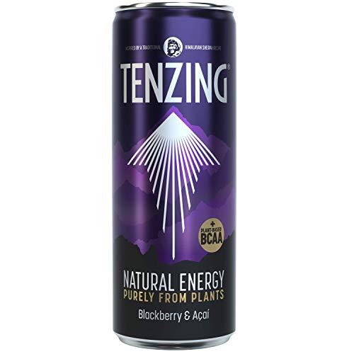 TENZING Natural Energy Drink, Gluten Free, Vegan, & Plant Based Drink, +BCAA, BlackBerry & Acai, 330ml (Pack of 12)