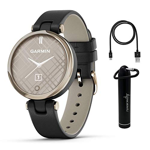 Garmin Lily Women's Fitness Classic Smartwatch with Wearable4U Power Bank Bundle (Cream Gold Bezel with Black Italian Leather Band)