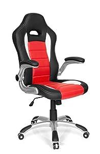 hjh OFFICE 621889 silla gaming GAME SPORT piel sintética negro / rojo reposabrazos plegables silla de escritorio inclinable