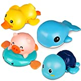 Niwoed Bath Toys for 1 2 3 4 5 Years Old Boys Girls Kids Gift, Wind-Up Bathtub Baby Bath Toys for Toddlers 1-3, Swimming Pool Water Toys for Kids Ages 4-8 Birthday Gifts(4 Pcs Set)