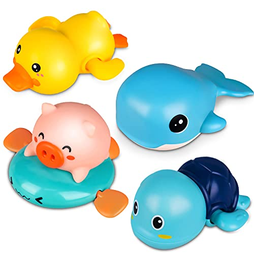 Niwoed Bath Toys for 3 4 5 6 7 8 Years Old Boys Girls Kids Gift, Wind-Up Bathtub Baby Bath Toys for Toddlers, Swimming Pool Water Toys for Kids Ages 4-8 Birthday Gifts(4 Pcs Set)