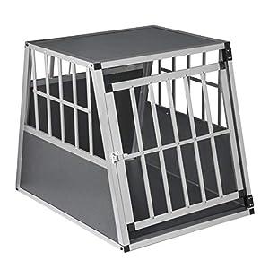 EUGAD Cage Aluminium Cage de Transport pour Chien Cage de Voyage pour Animal,Gris Argenté 0005LL