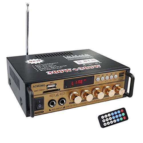 600W Mini Amplificador Audio BT, HiFi Audio Estéreo Amplificador 2CH Pantalla LCD de Alta fidelidad, BT FM Radio Portátil Auto Home 12 V 220V, Mando a Distancia Audio Amplificador