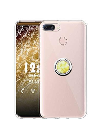 Sunrive Kompatibel mit Nubia Z11 Mini Hülle Silikon, Transparent Handyhülle 360°drehbarer Ständer Ring Fingerhalter Fingerhalterung Schutzhülle Etui Hülle(Goldener Marmor) MEHRWEG