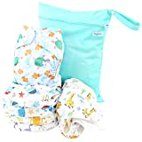 Leekalos Cloth Diapers Reusable for Boys and Girls, Baby Diaper Cloth with Bamboo Inserts & Wet Bag (Undersea)
