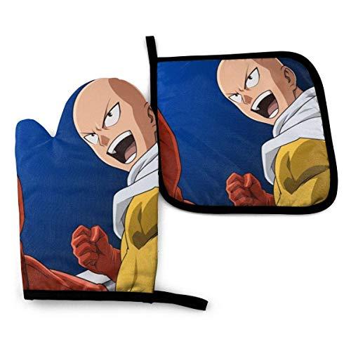 Mitones De Horno Y Juegos De Ollas One Punch Man Saitama Antideslizante Guantes De Horno Microondas Juegos De Guantes Para Horno Resistente Al Calor Guantes De Cocina