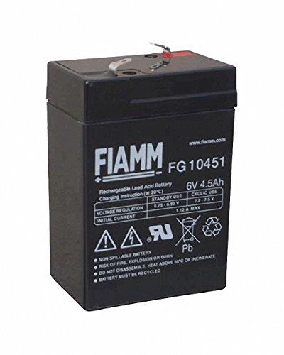 Fiamm - batteria di ricambio al piombo-gel da 6 V, 4,5 Ah, FG10451, per auto elettrica Peq Perego Smoby Diamec Polaris Sportsman