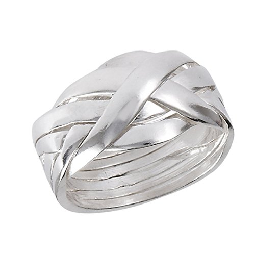 Sterling Silver Women's Interlocking Celtic Knot 6 Piece Puzzle Ring (Sizes 6-12) (Ring Size 7)