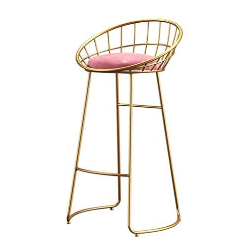 Bar stoolsQX Barhocker Bügeleisen Frühstück Speisesaal Hocker for Küche, Theke Startseite Stuhl for Gewerbe LOFT Hoher Hocker mit Rückenlehne und Samtkissen (Color : Gold, Size : 70cm)