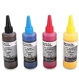 Inchiostro per sublimazione di 4 bottiglie compatibile per stampanti Epson/Ricoh a 4 colori, Inchiostro per trasferimento a caldo con stampa a caldo su tazze/piatti/t-shirt in poliestere/artigianato