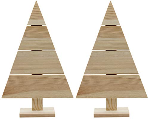 Creative Hobbies Standing Wood Pallet Christmas Tree, 14.5' x 9.5', Rustic Farmhouse Decoration, Craft Project | Pack of 2