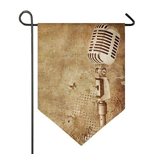 XiangHeFu Garden Flag Vintage Muziek Microfoon 12x18.5 Inches (12