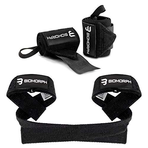 BIOMORPH Handgelenk-Bandagen & Zughilfen Set für Fitness, Bodybuilding, Kraftsport & Crossfit - für Damen und Herren