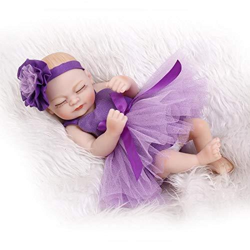 SPIDER NI Rebirth Baby-Puppe-weiche Kunststoff Voll Kleber kann gebadet im Wasser Mini Doll Kinder Puzzle Geburtstags-Geschenk-Spielzeug (ohne Kissen) (Color : Purple)