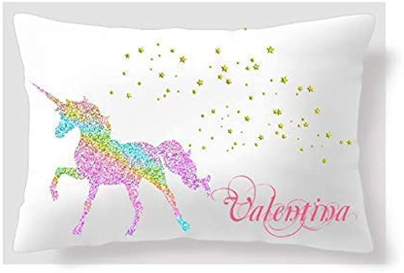 BlueVStudio Personalized Unicorn With Golden Stars Pillow Case 20 X 32 Unicorn Pillow Cover Pillow Case For Girls