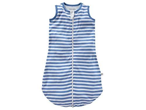 Bio Baby Schlafsack ohne Arm 100% Bio-Baumwolle (kbA) GOTS zertifiziert, Blau Off-White, 74/80