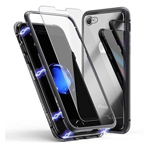 Funda para iPhone se 2020/8/7, ZHIKE Funda de Adsorción Magnética Súper Delgada Marco de Metal de Vidrio Templado con Cubierta Magnética Incorporada para Apple iPhone 7/8/se 2020 (Negro Claro)