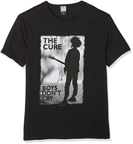 Amplified The Cure-Boys Don't Cry Camiseta, Negro (Black BK), L para Hombre