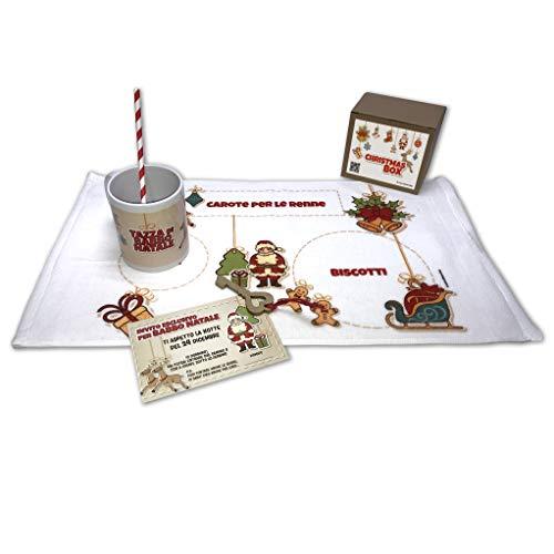Dacl'Art Letterina Babbo Natale Christmas Box tovaglietta, Tazza, Chiave Cannuccia e invito Made in Italy
