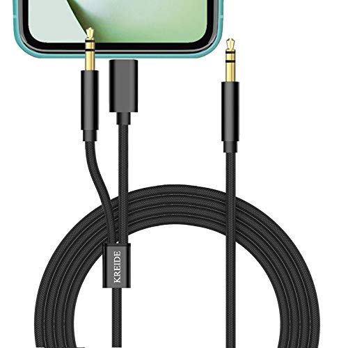 KREIDE Aux Cord for Car 2 in 1 Universal Hi-Fi Stereo Audio Cable Compatible with Phone 11 X XS Max 8 7 S Plus and Other 3.5 mm Port Devices for Speaker Headphone and Car Aux