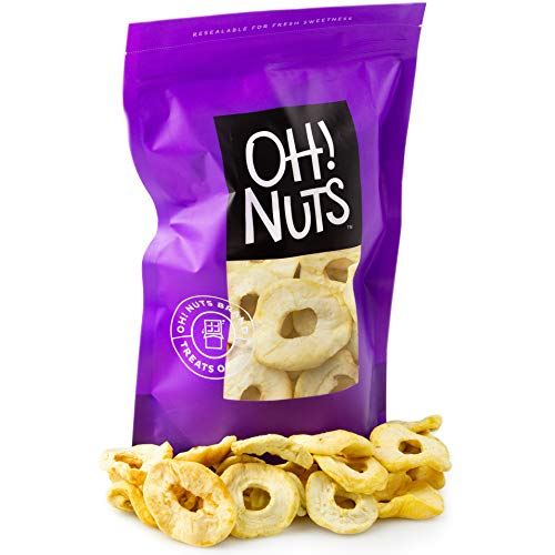 Oh! Nuts Dried Apple Rings | 26oz Bulk Bag Fresh Dehydrated Unsweetened Apple Slices for Snacking & Cooking | No Sugar Added, Low Sodium, Dairy Free, Low Cholesterol, Low Fat & High Fiber Fruit Pieces