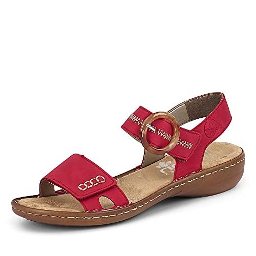 Rieker Damen 608Z3 Sandale, rot / 33, 41 EU