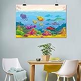 Lienzo para acuario, diseño de dibujos animados divertido, paisaje submarino con varios animales y cofre del tesoro para decoración del dormitorio, 50 cm de ancho x 60 cm de largo, multicolor