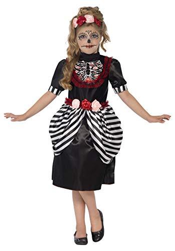 Smiffys Costume Sugar Skull, Noiret blanc, avec robeet bandeau rose