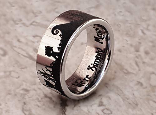Jack & Sally Nightmare Before Christmas Wedding Ring Set, Nightmare Before Christmas Engagement Wedding Ring, Matching Jack and Sally Rings Simply Meant To Be Ring