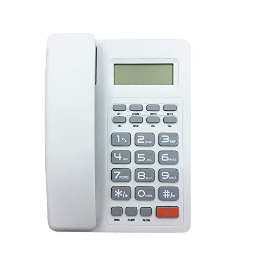 Teléfono con cable de escritorio, teléfono fijo, teléfono fijo con cable para el hogar/hotel/oficina, identificador de llamadas, (blanco)