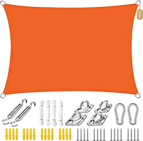 HYLX Toldo de Vela de Parasol Rectángulo Impermeable Toldo de protección Solar Bloque UV con Kit de fijación, Cuerdas Libres, para Patios de jardín, pérgola al Aire Libre, Naranja ||4x4m (13x13