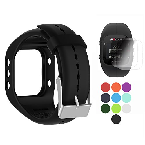 TUSITA Band for Polar A300 - Silicone Replacement Strap Bracelet Wristband with Screen Protector - GPS Smart Watch Accessories