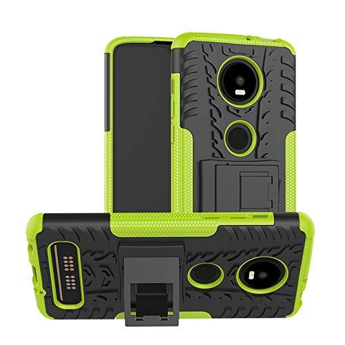 TiHen Handyhülle für Motorola Moto Z4 Play Hülle, 360 Grad Ganzkörper Schutzhülle + Panzerglas Schutzfolie 2 Stück Stoßfest zhülle Handys Tasche Bumper Hülle Cover Skin mit Ständer -Grün