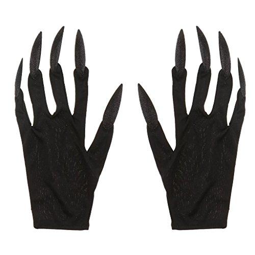 Halloween Gloves Long Glitter Fingernails Gloves Scary Devil Woman Gloves for Halloween Carnival Fancy Dress - Black