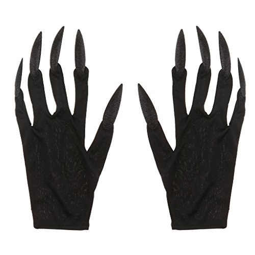 Halloween Gloves Long Glitter Fingernails Gloves Scary Devil Woman Gloves for Halloween Carnival Fancy Dress - Black