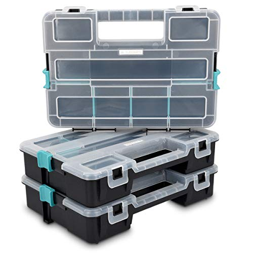 Navaris Plastic Storage Box - Stackable Organizer Case with Adjustable and Removable Divider Compartment for Tools, Small Items, Jewelry - 3 Boxes