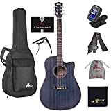 WINZZ 41 Inches Full Size Cutaway Mahogany Acoustic Guitar Bundle for Beginner Adult, Matte Blue